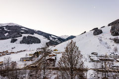 Morning in the ski area Saalbach-Hinterglemm in Austria Stock Photography