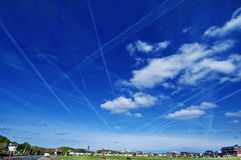 Morning Sky. Airplane Traces Royalty Free Stock Photos