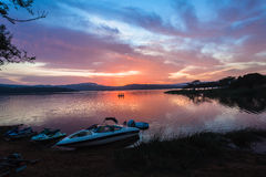 Dawn Colors Waters Boats Dam Royalty Free Stock Image