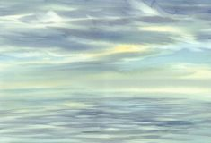 Morning sky cloud reflections on water watercolor Royalty Free Stock Photos