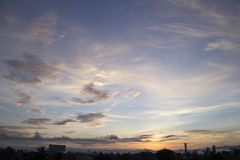 Morning sky with clouds and the sun ray background Royalty Free Stock Photography