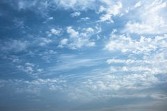 Morning sky with clouds. Winter morning blue sky with clouds and texture stock photos