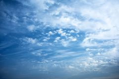 Morning sky with clouds. Winter morning blue sky with clouds and texture stock photo