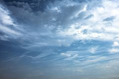 Morning sky with clouds. Winter morning blue sky with clouds and texture stock images