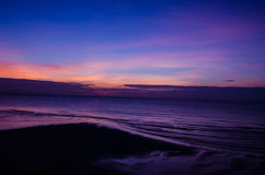 Morning sky with dramatic clouds over the sea Stock Images