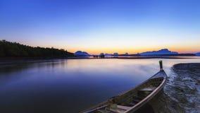 Ban Sam Chong Tai Takua Thung District, Thailand. This morning sky in Fishing village Royalty Free Stock Photos