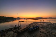 Ban Sam Chong Tai Takua Thung District, Thailand. This morning sky in Fishing village Royalty Free Stock Photo