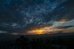 Morning Sky the golden hour. The Morning view of sky from Kathmandu valley and the sunrise and golden hour stock image