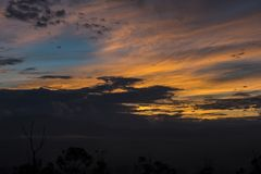 Morning Sky the golden hour. The Morning view of sky from Kathmandu valley and the sunrise and golden hour royalty free stock images