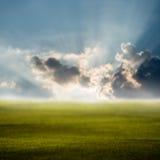 Morning sky at green field, Defocused Stock Photos