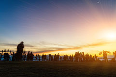 Morning sky and a lot of people. Royalty Free Stock Photography