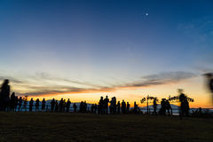 Morning sky and a lot of people. Royalty Free Stock Photos