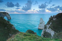 Morning sky over Atlantic ocean and cliffs. Etretat, France Royalty Free Stock Photo