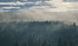 Morning sky panorama with forest mountains in clouds Royalty Free Stock Photography