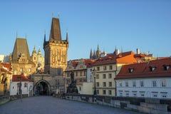 Morning sky with sunlight over the tower at Charles Bridge, Prag. Ue,Czech Republic Stock Image