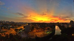 Sunrise over Singapore suburbs Royalty Free Stock Photo