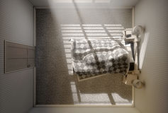 Morning Sleep In. A 3D render of a person sleeping under the covers of a bed with bright morning sunlight illuminating through blinds and a cellphone charging on vector illustration