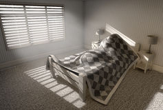 Morning Sleep In. A 3D render of a person sleeping under the covers of a bed with bright morning sunlight illuminating through blinds and a cellphone charging on royalty free illustration