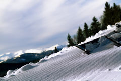 Morning slope with ribbed bands after passing snowcat. Stock Images
