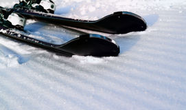 Morning slope with ribbed bands after passing snowcat. Royalty Free Stock Photos