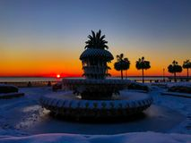 Pineapple Fountain, Charleston, SC. The morning after a snowstorm hits Charleston, SC, leaving 6 inches of snow and a frozen pineapple fountain Royalty Free Stock Photography