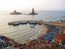Morning at the southernmost point of India Kanyakumari royalty free stock photo
