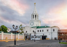 Morning of the Spasskaya tower. Beautiful morning sky over the Spassky tower of the Kazan Kremlin Stock Photos