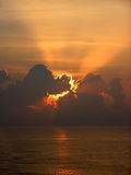Morning Spills Forth. An early morning view of dawn breaking from the deck of our cruise ship Royalty Free Stock Image