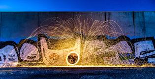Morning Spin. Steel wool spinning early one morning Royalty Free Stock Images