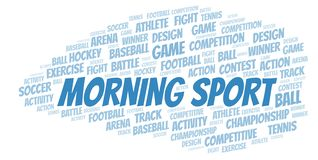 Morning Sport word cloud. Wordcloud made with text only royalty free illustration