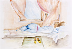 Morning spring breeze. Morning spring young breeze concept. Girl sleeping near an open window. Watercolor handmade painted art illustration Stock Images