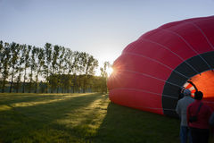 Morning start of a Hot air balloons Royalty Free Stock Photography