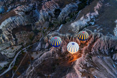Morning start of Hot air balloons in Cappadocia. Turkey Stock Image