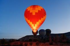 Morning start of Hot air balloons in Cappadocia. Turkey Stock Photo