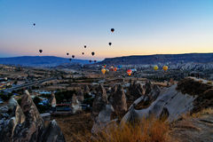 Morning start of Hot air balloons in Cappadocia. Turkey Stock Photography