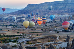Morning start of Hot air balloons in Cappadocia. Turkey Stock Photos