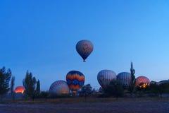 Morning start of Hot air balloons in Cappadocia. Turkey Royalty Free Stock Photos