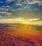 Morning in a steppe Stock Photo