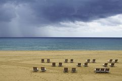 Morning storm clouds over the sea Barcelona Spain stock images