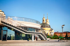 Morning street with clear sky. Morning street with clear sky in kiev city Royalty Free Stock Photo