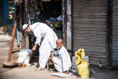 Morning on a street  in Old Delhi, India Stock Photos