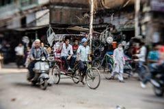 Morning on a street  in Old Delhi, India. DELHI, INDIA - NOVEMBER 10: Morning on a street at November 10, 2013 in Old Delhi, India. Indian capital still uses man Royalty Free Stock Photos