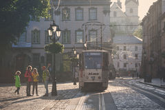 Morning streets of Lviv city Stock Images