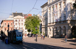 Morning streets of Lviv city Stock Photography