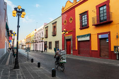 Morning streets of Puebla de Zaragoza in Mexico. Morning streets of Puebla de Zaragoza - the one of the five most important Spanish colonial cities in Mexico Royalty Free Stock Photography