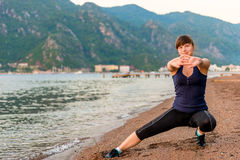 Morning stretching athletes Stock Photos