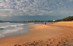 Morning stroll. Sunshine Coast Aust. stock image
