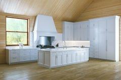 Morning in Stylish White Classic Kitchen stock photos