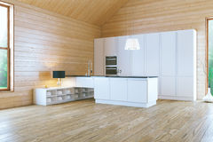 Morning in Stylish White Contemporary Kitchen Royalty Free Stock Photos