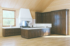 Morning in Stylish Wooden Classic Kitchen Royalty Free Stock Photo